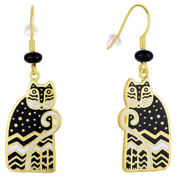 Polka Dot Gatos Cat Feline Laurel Burch Drop Earrings Black - 5144