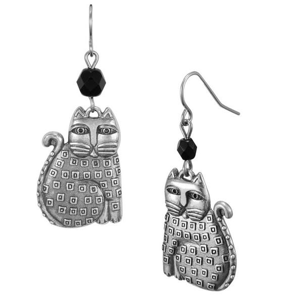 Indigo Cat Feline Laurel Burch Drop Earrings