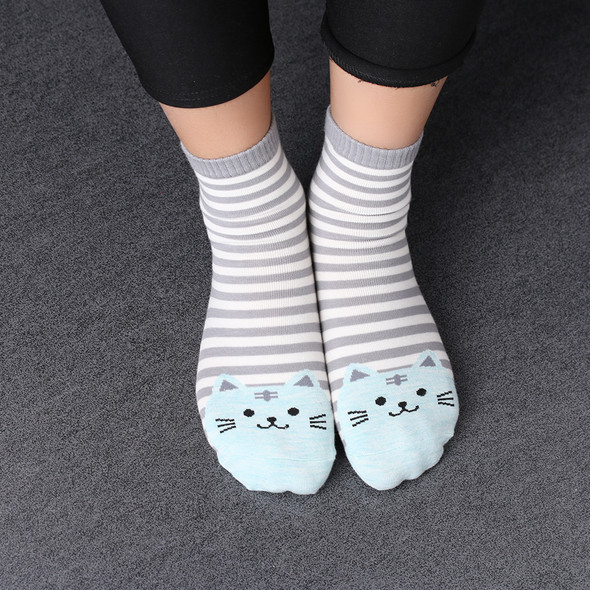 Teal Blue Cat Toe Socks with Gray and White stripes.