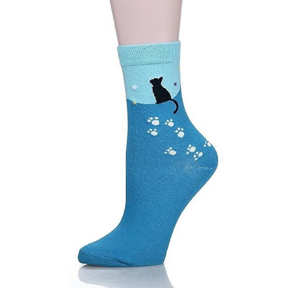 Blue Cat with White Paw Prints Socks - CC117