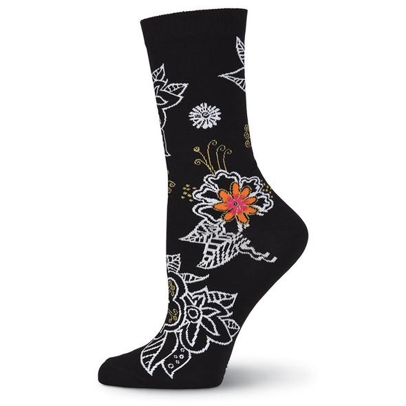 Laurel Burch Bold Floral Flower Crew Socks LBWS18H005