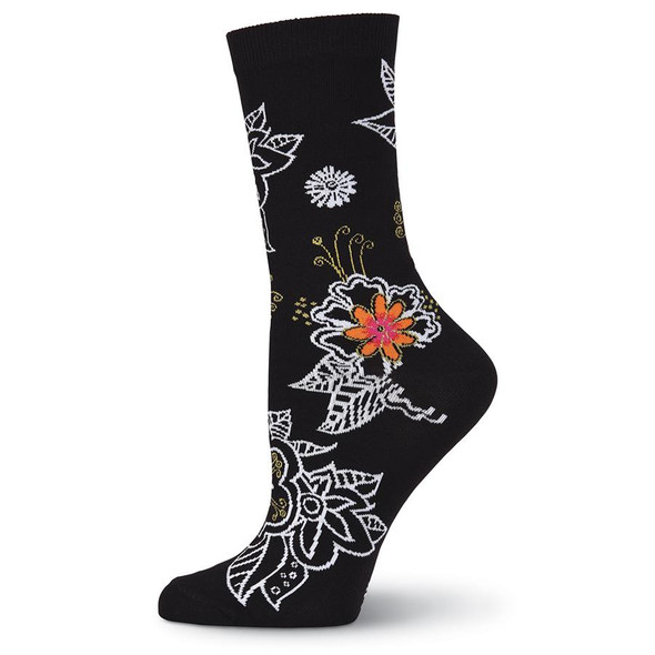 Laurel Burch Bold Floral Flower Crew Socks LBWS18H005