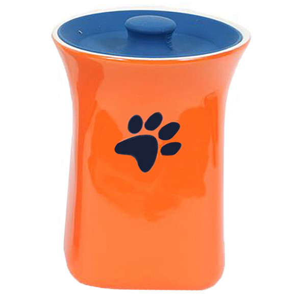 Orange Ceramic Treat Jar with Silicone Lid