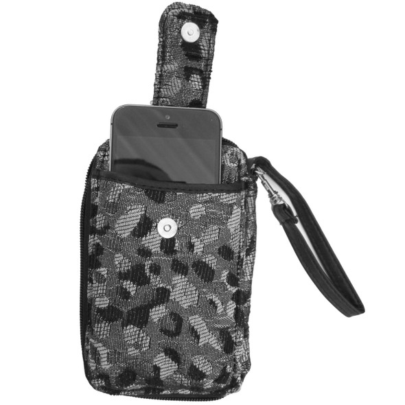 Black White and Silver Leopard Cell Phone Wallet - Holds SMALL cell phone - 52872