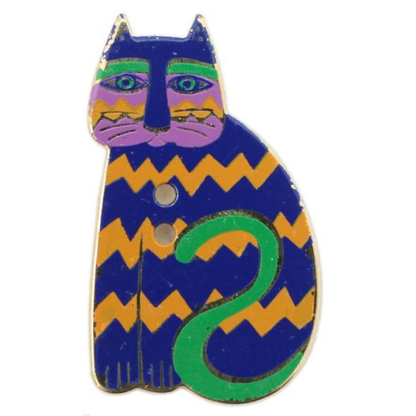 Royal Blue Cat with Yellow Orange Zig Zags - Laurel Burch Goldtone Metal Button