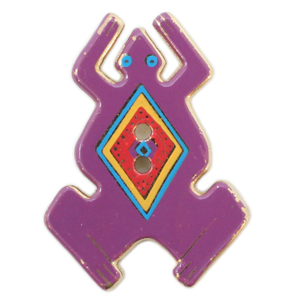 Purple Frog with Red and Yellow Diamond Outlined in Blue, Laurel Burch Metal Button