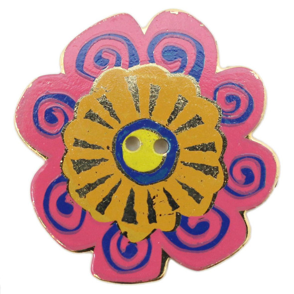 Large Pink Flower with Navy Blue and Orange Yellow Design Button - Laurel Burch Button