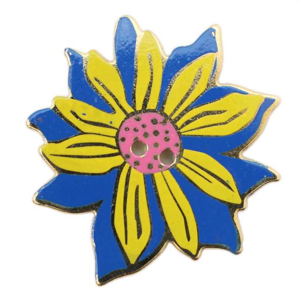 Laurel Burch Button - Yellow Sunflower on Blue - Dill Button