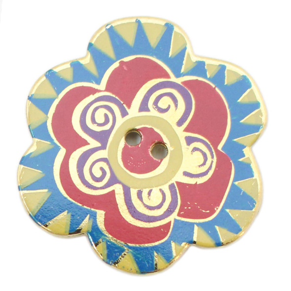 Laurel Burch Button - Yellow and Blue Flower Button with Red and Purple Accents - Dill Button