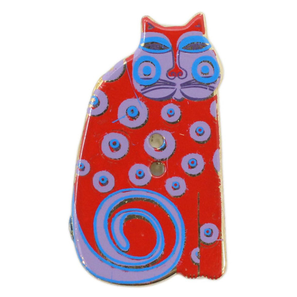Red Cat with Lavender Face & Polka Dots, Laurel Burch Gold Metal Button  - Dill Button