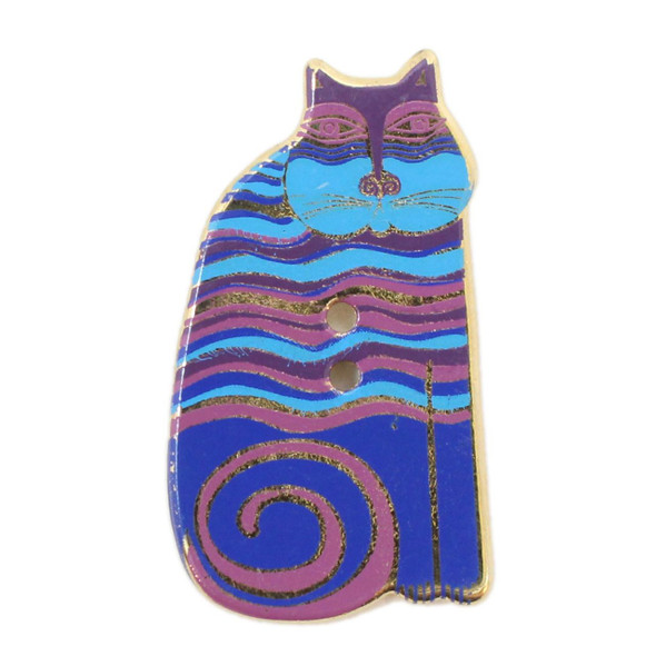 Laurel Burch - Indigo Cat Striped Painted Metal Button by Dill Buttons