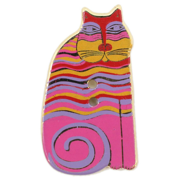 Magenta Cat with Orange, Yellow, and Lavender Stripes & Tail, Laurel Burch Gold Metal Button  - Dill Button