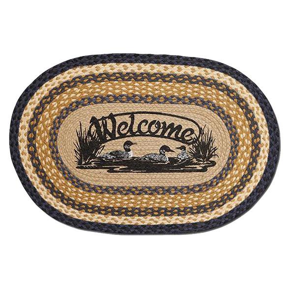 Welcome Loons 20x30 Hand Printed Oval Braided Floor Rug OP-079