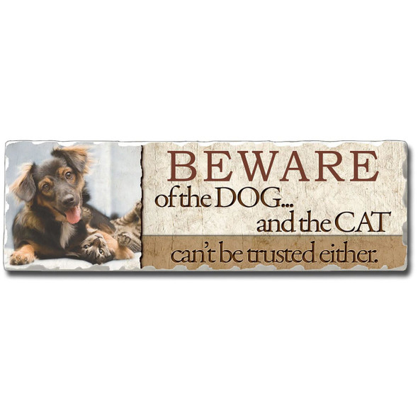 """Cat and Dog Stone Sign """"Beware of the Dog ... and the Cat"""""""