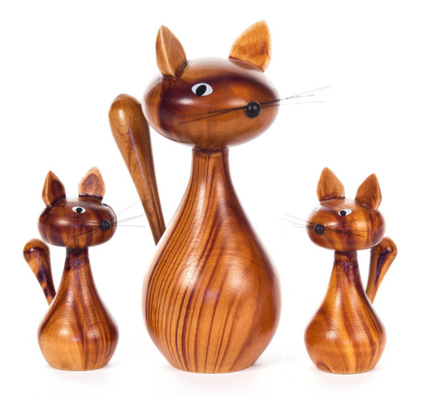 Wooden Cat German Figurine - 3 Piece Set