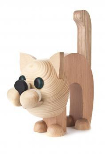 Tan Kitty Cat Wooden Eyeglass Holder