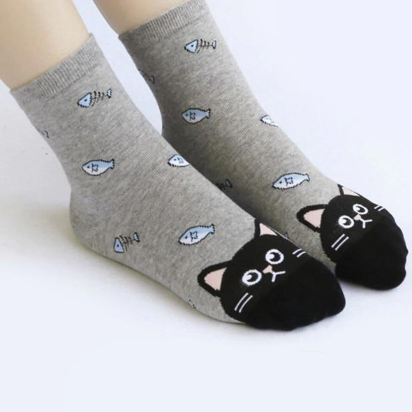 Gray Socks with Black Cat Face on Toes - with Fish -  CC128