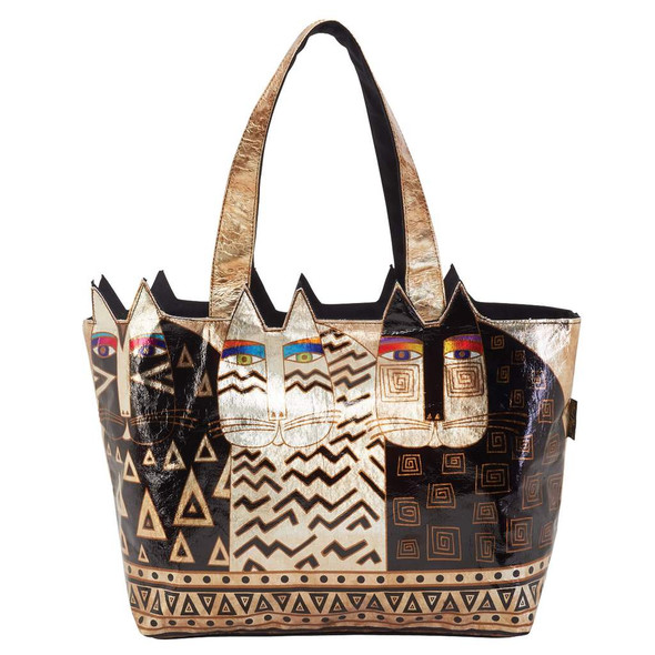Laurel Burch Wild Cats Large Cutout Foil Shoulder Tote