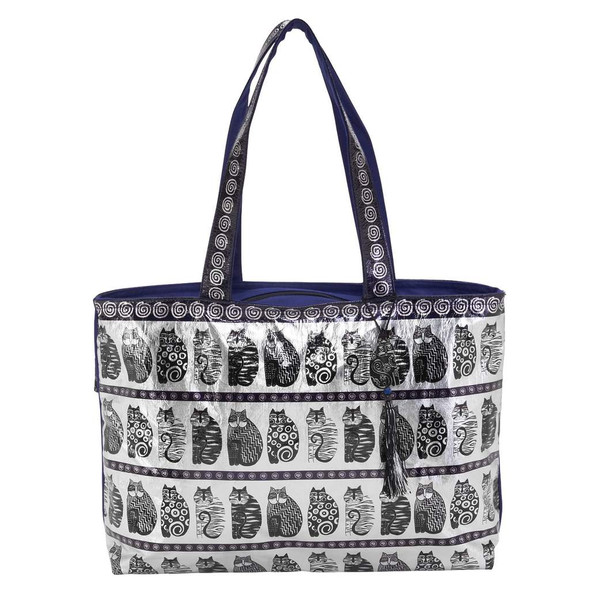Laurel Burch Black and White Felines Cats Foil Cotton Shoulder Tote