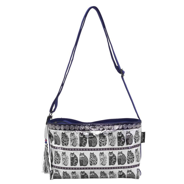Laurel Burch Black and White Felines Foil Crossbody Tote