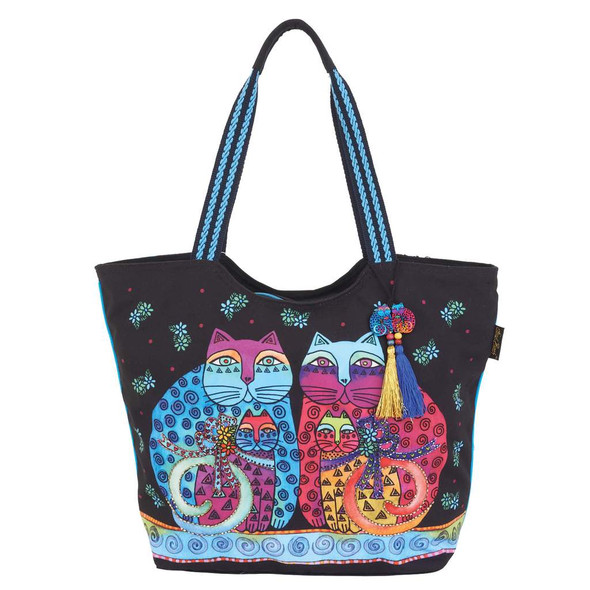 Laurel Burch Feline Set Cats Canvas Shoulder Tote