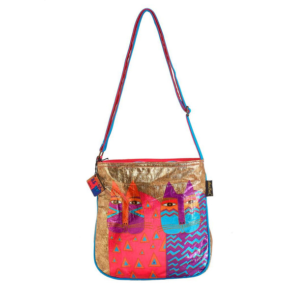 Laurel Burch Colorful Wild Cats Foil Crossbody Tote
