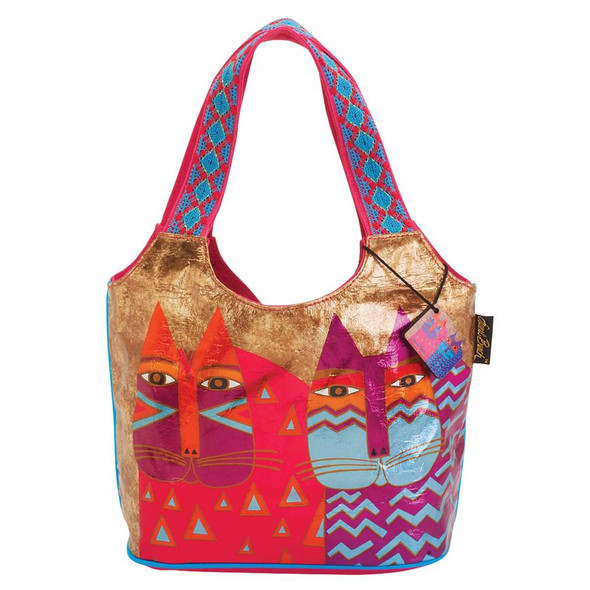 Laurel Burch Colorful Wild Cats Foil Medium Scoop Tote