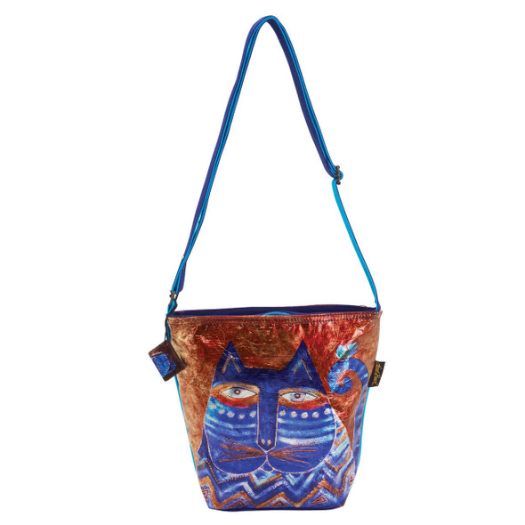 Laurel Burch Azul Cats Foil Crossbody Tote