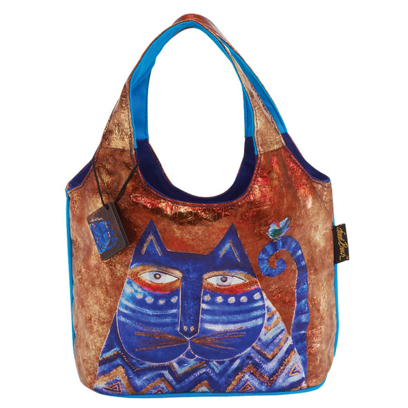 Laurel Burch Azul Cats Foil Medium Scoop Tote