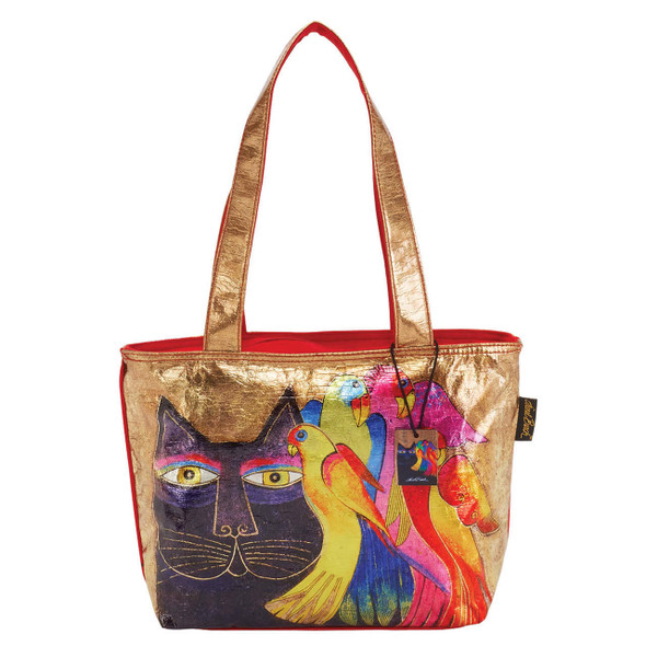 Laurel Burch Ebony Cats and Birds Foil Cotton Medium Shoulder Tote