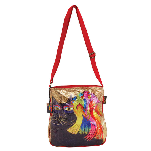 Laurel Burch Ebony Cats and Birds Foil Cotton Cross Body Tote