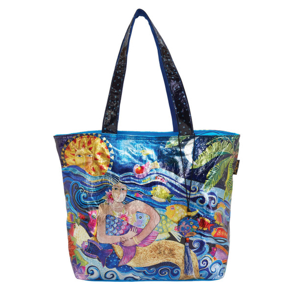 Laurel Burch Ocean Song Foil Cotton Shoulder Tote