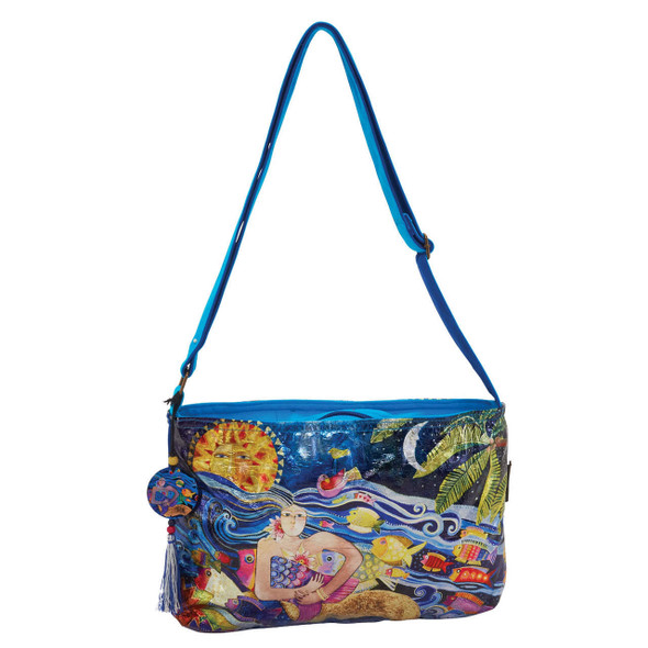 Laurel Burch Ocean Song Foil Crossbody Tote