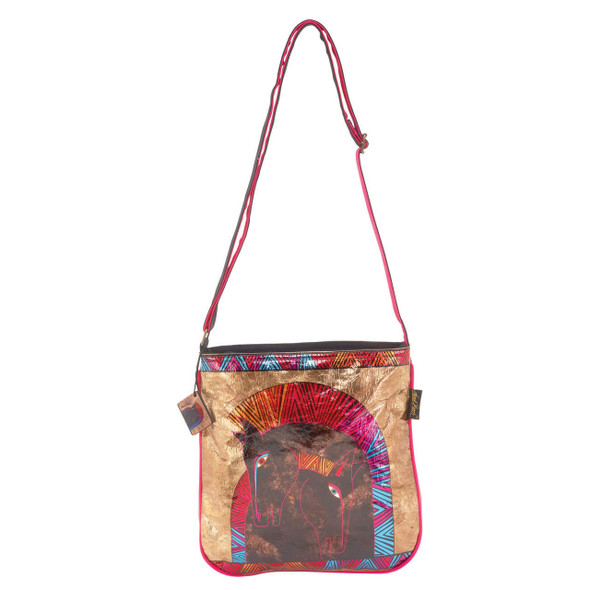Laurel Burch Embracing Horses Foil Crossbody Tote