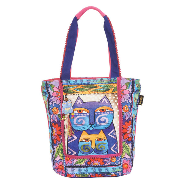Laurel Burch Stacked Felines Cats Shoulder Tote