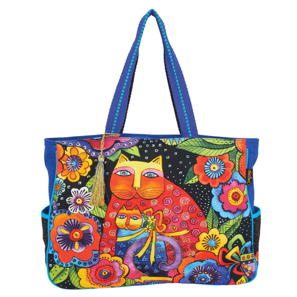 Laurel Burch Mother Daughter Felines Cats in Flowers Oversize Tote