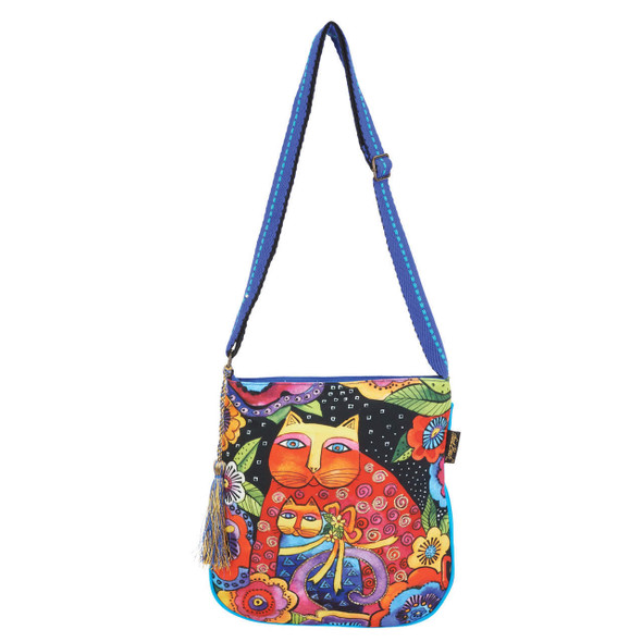 Laurel Burch Mother Daughter Felines Cats in Flowers Crossbody Tote