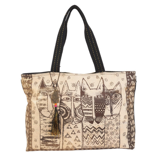 Laurel Burch Wild Cats Family Stamp Pattern Shoulder Tote
