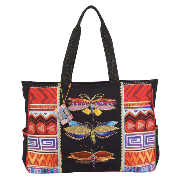 Laurel Burch Colorful Dragonflies Oversize Tote