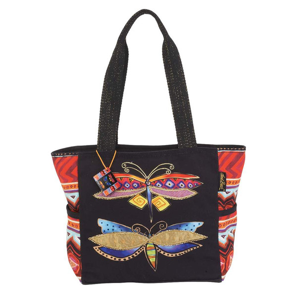 Laurel Burch Colorful Dragonflies Medium Shoulder Tote