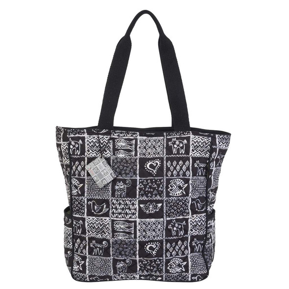 Laurel Burch Black and White Cats Stamp Pattern Quilted Shoulder Tote