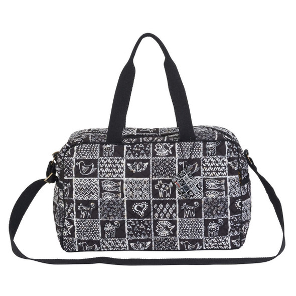Laurel Burch Black and White Cats Stamp Pattern Quilted Weekender Tote - LB6561