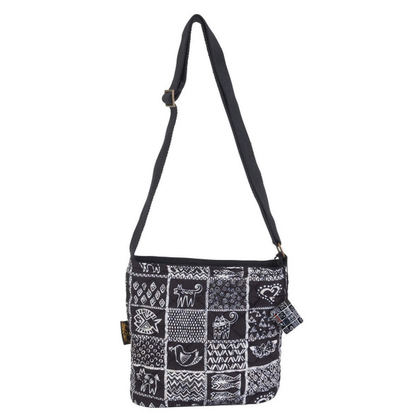 Laurel Burch Black and White Cats Stamp Pattern Quilted Crossbody Tote - LB6563