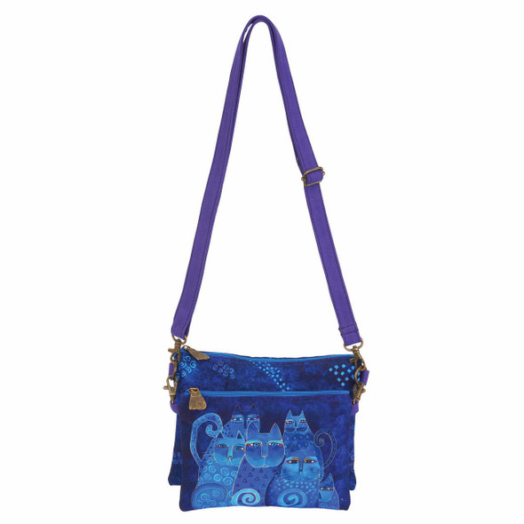 Laurel Burch Indigo Cats Two Piece Crossbody Tote - LB6551C