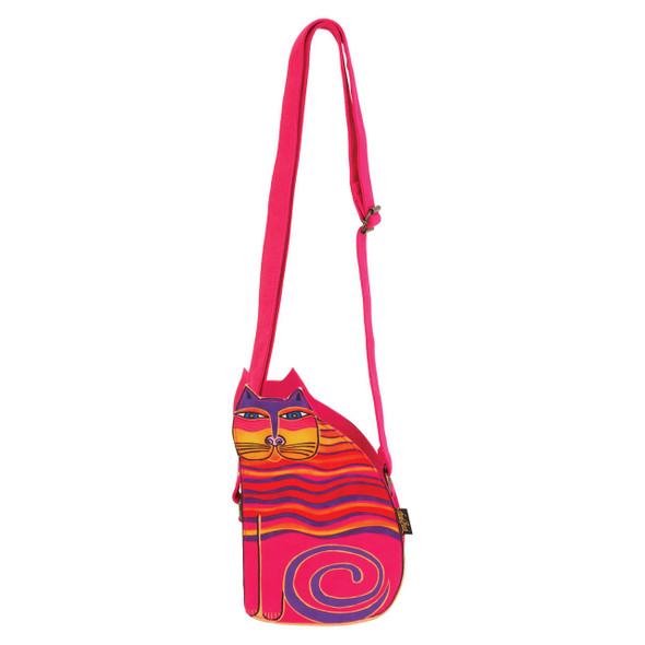 Laurel Burch Cutout Feline Friend Cat Shoulder Tote - LB6554B - Pink