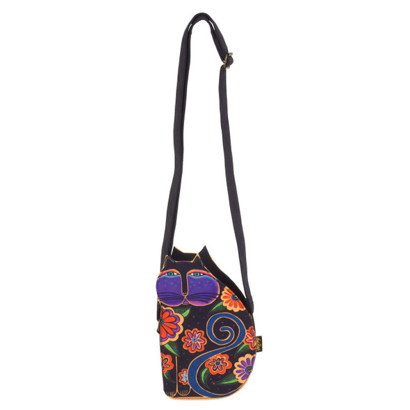 Laurel Burch Cutout Blossoming Feline Cat Shoulder Tote - LB6554C - Black