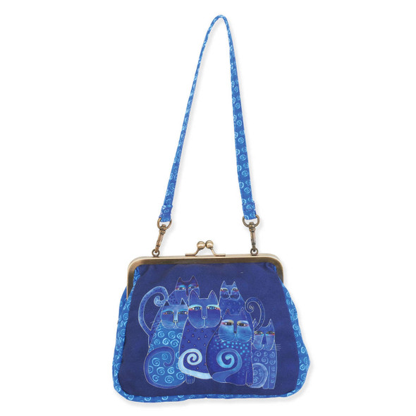 Laurel Burch Medium Clasp Purse Indigo Cat Shoulder Tote - LB6559A