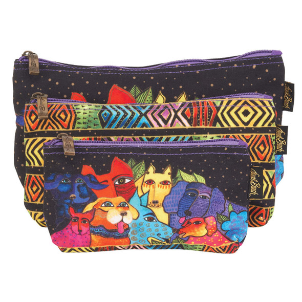 Laurel Burch Dog Canine Clan 3 BAG SET Cosmetic Bags LB6556