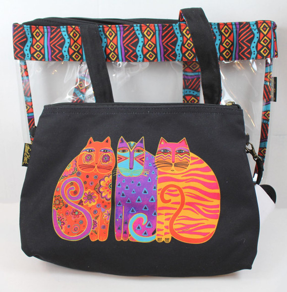 Laurel Burch Feline Friends Large Clear Travel Tote 2 Piece SET