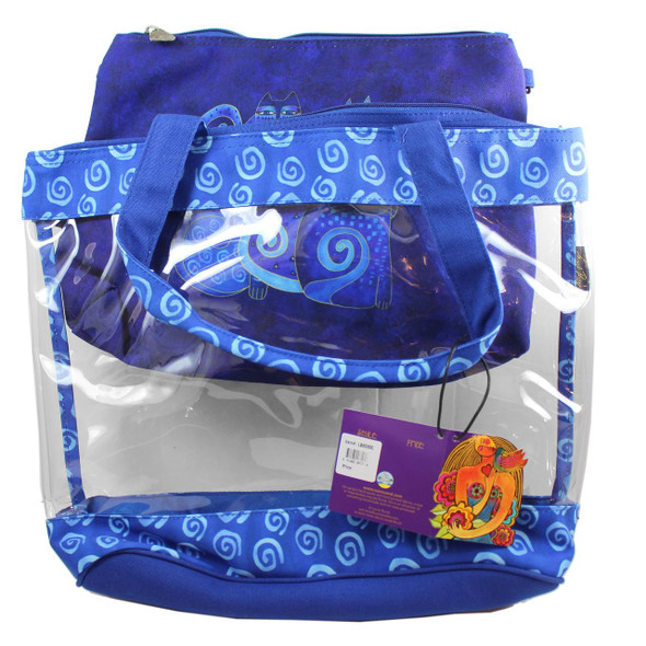 Laurel Burch Indigo Cats Large Clear Travel Tote 2 Piece SET